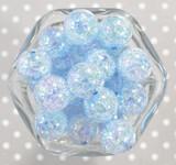 20mm Blue AB crackle bubblegum beads