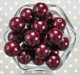 20mm Beet red pearl bubblegum beads