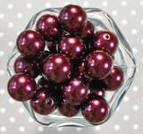 20mm Beet red pearl bubblegum beads