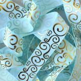 "7/8"" Light blue with gold metallic swirls grosgrain print ribbon"