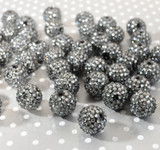 20mm Gunmetal rhinestone bubblegum beads