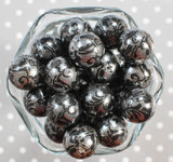 20mm White with Black lace printed bubblegum beads