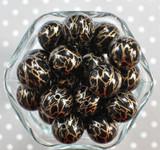 20mm Black with Gold lightning printed bubblegum beads