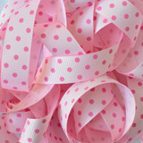 "7/8"" Light pink with shocking pink dots printed grosgrain ribbon by the yard"