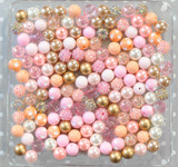 12mm Peach, Pink, and Gold bubblegum bead mix