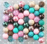 Frosted Teal bubblegum bead wholesale kit
