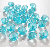 22mm Turquoise clear faceted rondelle acrylic beads