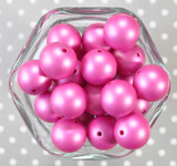 20mm Dark Fuchsia matte pearl bubblegum beads