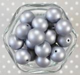 20mm Silver Light Grey matte pearl bubblegum beads