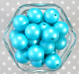 20mm Bright Blue matte pearl bubblegum beads