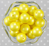 20mm Bright Yellow matte pearl bubblegum beads