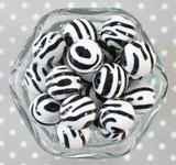 20mm Zebra printed bubblegum beads