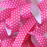 "7/8"" Shocking pink with hot pink dots printed grosgrain ribbon by the yard"