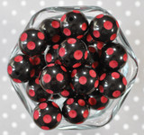 20mm Black with Red polka dot bubblegum beads