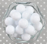 20mm Bright Ice white solid bubblegum beads