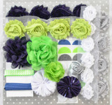 Navy and Lime shabby flower headband kit