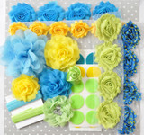 Bright blue, yellow, green shabby flower headband kit