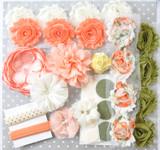 Peach and Olive shabby flower headband kit