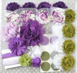 Purple and Olive shabby flower headband kit