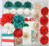 Teal and Red Christmas shabby flower headband kit