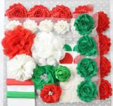Red and Green Christmas shabby flower headband kit