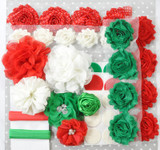 Red and Green Christmas shabby flower headband kit