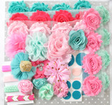 Pink and Aqua shabby flower headband kit