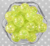 20mm Lemon Lime AB crackle bubblegum beads