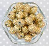 16mm Metallic Gold AB rhinestone bubblegum beads