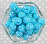 16mm Island Turquoise AB rhinestone bubblegum beads