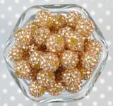 16mm Light Bronze rhinestone bubblegum beads