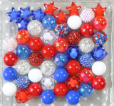 Red, white, and blue July stars bubblegum bead wholesale kit