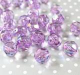 20mm Purple AB faceted bubblegum beads