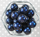 20mm Navy glitter pearl bubblegum beads