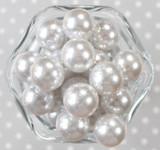 20mm White glitter pearl bubblegum beads