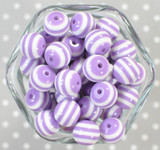 16mm Orchid striped bubblegum beads