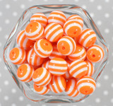 16mm Orange striped bubblegum beads