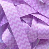 "7/8"" Light purple chevron printed grosgrain ribbon by the yard"
