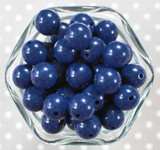 16mm Light navy solid bubblegum beads
