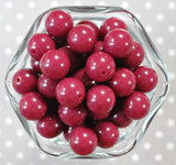 16mm Cranberry red solid bubblegum beads