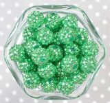 16mm Light emerald rhinestone bubblegum beads