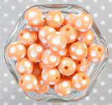 16mm Peach polka dot bubblegum beads
