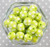 16mm Light apple polka dot bubblegum beads