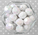 20mm White AB opaque faceted acrylic beads
