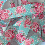 "7/8"" Navajo turquoise with pink roses printed grosgrain ribbon by the yard"