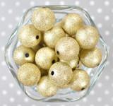 20mm Yellow gold stardust metallic bubblegum beads