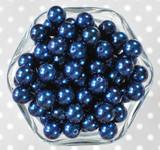 12mm Navy blue pearl bubblegum beads