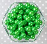 12mm Emerald green pearl bubblegum beads