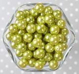 12mm Light Oilve pearl bubblegum beads