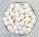12mm White AB solid bubblegum beads